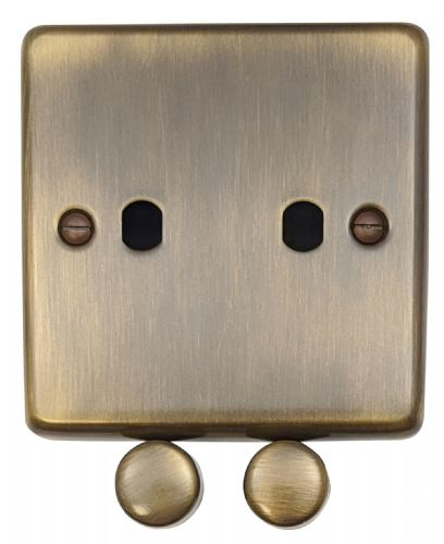 G&H CAB12-PK Standard Plate Antique Bronze 2 Gang Dimmer Plate Only inc Dimmer Knobs